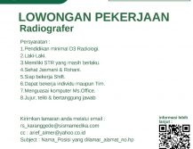 Lowongan pekerjaan bagian radiografer
